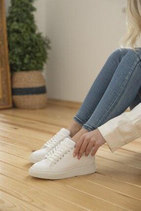 Straswans Kadın Rugan Spor Ayakkabı Beyaz 3