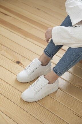 Straswans Kadın Rugan Spor Ayakkabı Beyaz 4