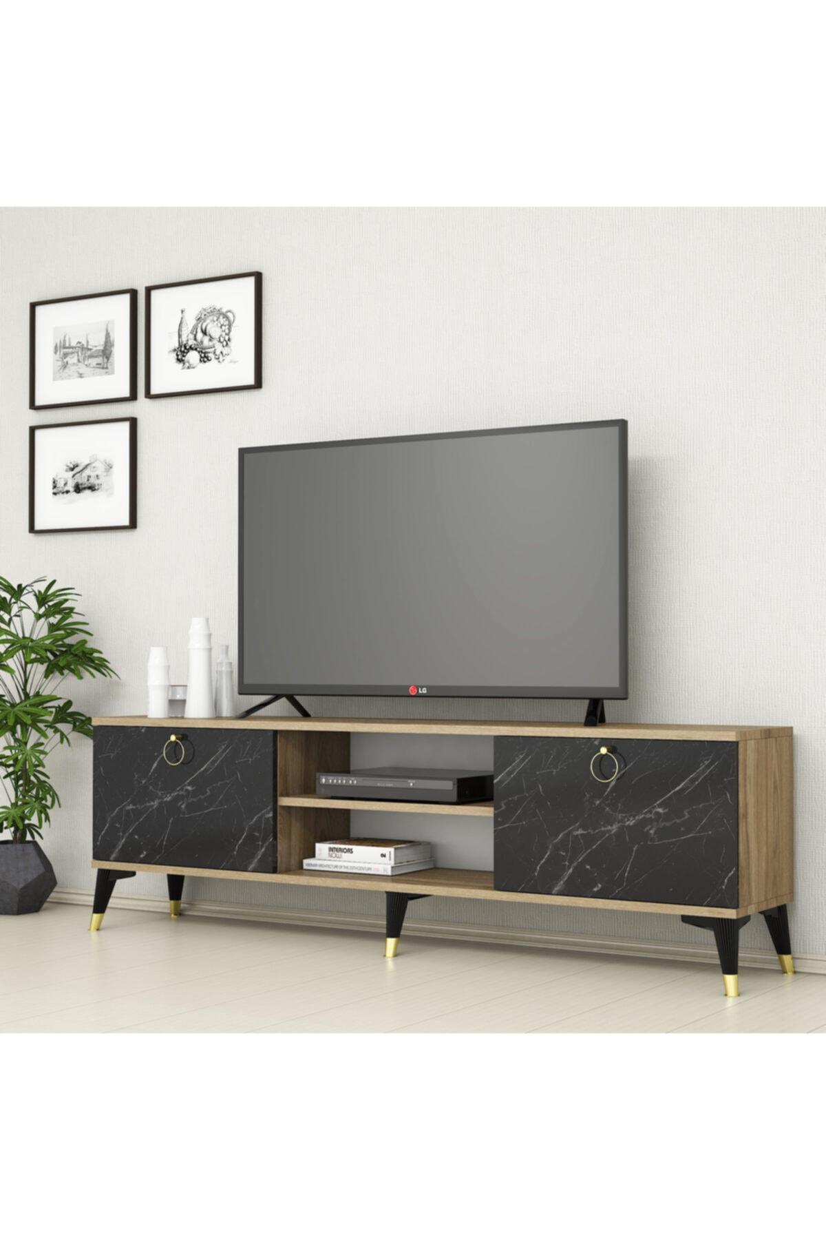 Mermer Desen Altın Kulplu Modern Ayak 160 cm Tv Sehpası