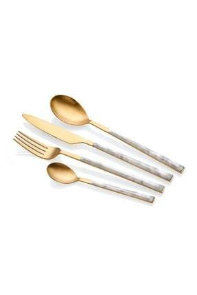 The Mia Beyaz Altın Mermer Desen 24 Parça Çatal Kaşık Bıçak Seti 0