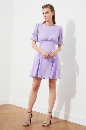 TRENDYOLMİLLA Lila Fırfır Detaylı Şifon Elbise TPRSS21EL0889 0