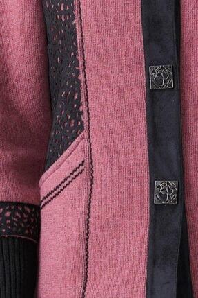 Sementa Kadın Polo Yaka Düğmeli Triko Ceket - Gül - Siyah 3