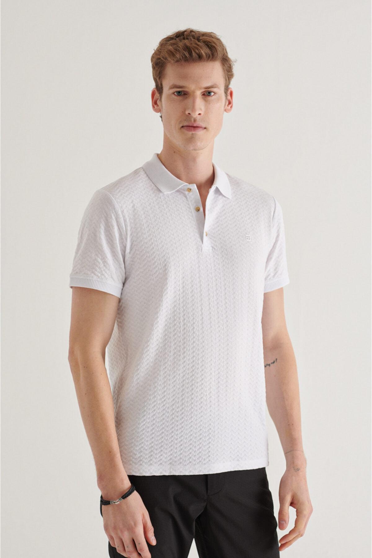 Erkek Beyaz Polo Yaka Jakarlı T-shirt A11y1101