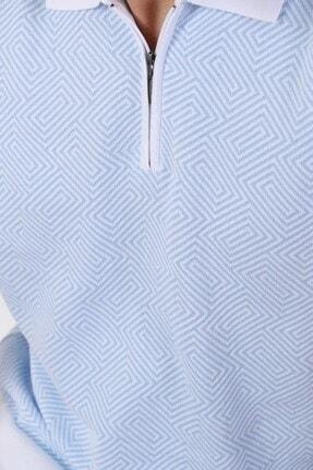 Ferraro Erkek Beyaz Açık Mavi Polo Yaka Desenli Pamuk Triko T-shirt 1