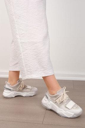Marjin Kadın Beyaz Sneaker Dolgu Topuklu Spor Ayakkabı Cakir 2