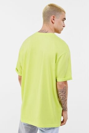 Bershka Erkek Lime Long Fit T-shirt 1