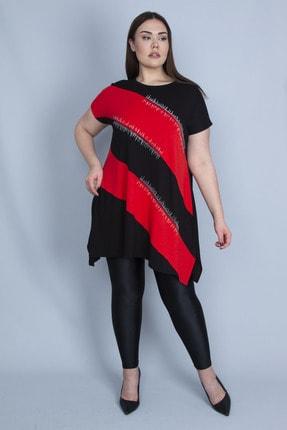 Şans Kadın Kırmızı Renk Kombinli Taş Detaylı Tunik 65N23129 2