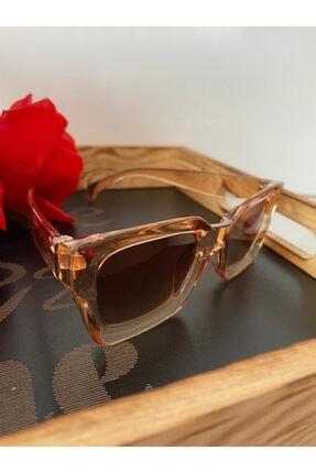 Mathilda Aksesuar Mia Kalın Çerçeveli Tasarım Gözlük Bal Çerçeve Kahve Cam 1