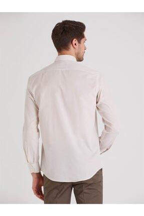 Dufy Bej Desenli Pamuklu Polyester Erkek Gömlek - Slım Fıt 4