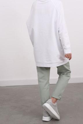Ekrumoda Kadın Beyaz Reglan Kol Basic Sweat Tunik 3