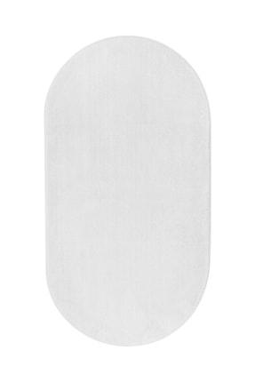 Dijidekor Beyaz Oval Post Dokuma Halı Peluş Yumuşacık Kaymaz Antibakteriyel 120x180 1