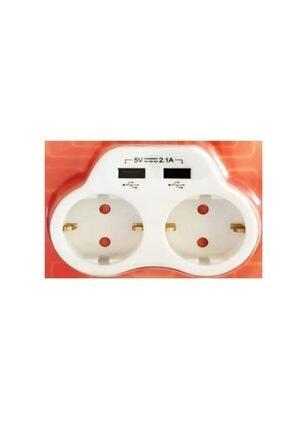 VİKO Beyaz 2'li Topraklı ve 2,1 Amper 2 Usb Çıkışlı Fiş Priz Hızlı Şarj Cihazı 3