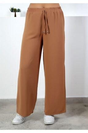 Moda Bu Kadın Kahve Beli Lastikli Bol Paça Salaş Yazlık Pantolon Aerobin 865829 1