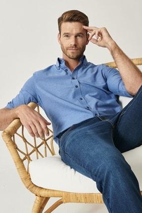 Altınyıldız Classics Erkek K.MAVI Düğmeli Yaka Tailored Slim Fit Oxford Gömlek 3