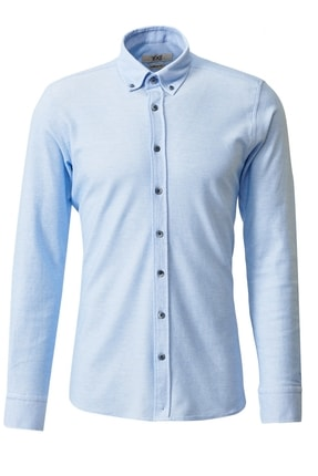 تصویر از Erkek Açık Mavi 360 Derece Her Yöne Esneyen Düğmeli Yaka Örme Tailored Slim Fit Gömlek