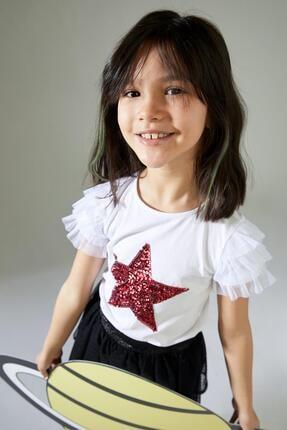 Defacto Kız Çocuk Yıldız Payetli Kısa Kol Tişört 2