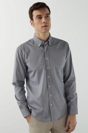 Erkek Slim Fit Mavi Polo Yaka Gömlek 1077902