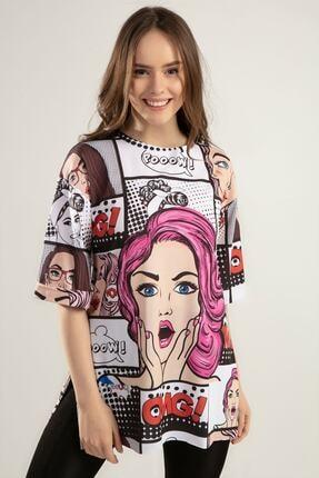 Pattaya Kadın Baskılı Yırtmaçlı Oversize Tişört Y20s110-0386 2