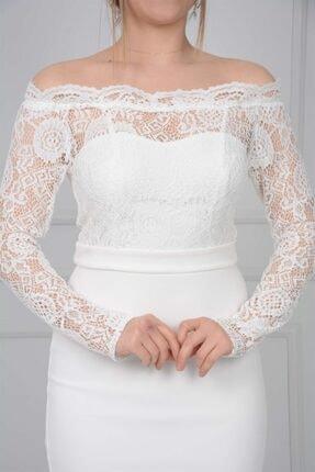 giyimmasalı Üst Güpür Alt Scuba Eteği Volanlı Elbise - Beyaz 2