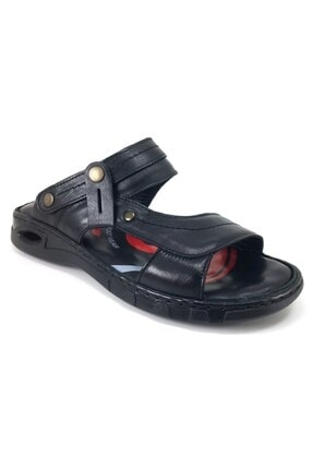 Forelli M40507 Hakiki Deri Erkek Anatomik Terlik Sandalet Siyah 3