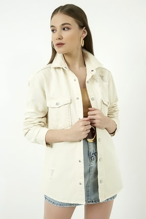 Vis a Vis Kadın Bej Yırtıklı Kot Ceket Gömlek  STN443KGO160 2