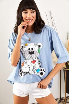 Olalook Kadın Bebe Mavi Renkli Ayılı Oversize T-shirt 1