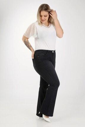 E Collection Ispanyol Paça Likralı Büyük Beden Jeans Pantolon 3