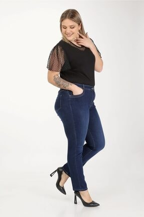 E Collection Büyük Beden Full Likralı Jeans Pantolon 1