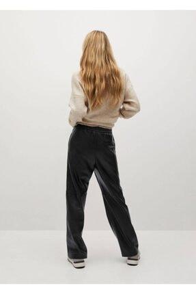 Mango Deri Görünümlü Düz Kesim Pantolon 2