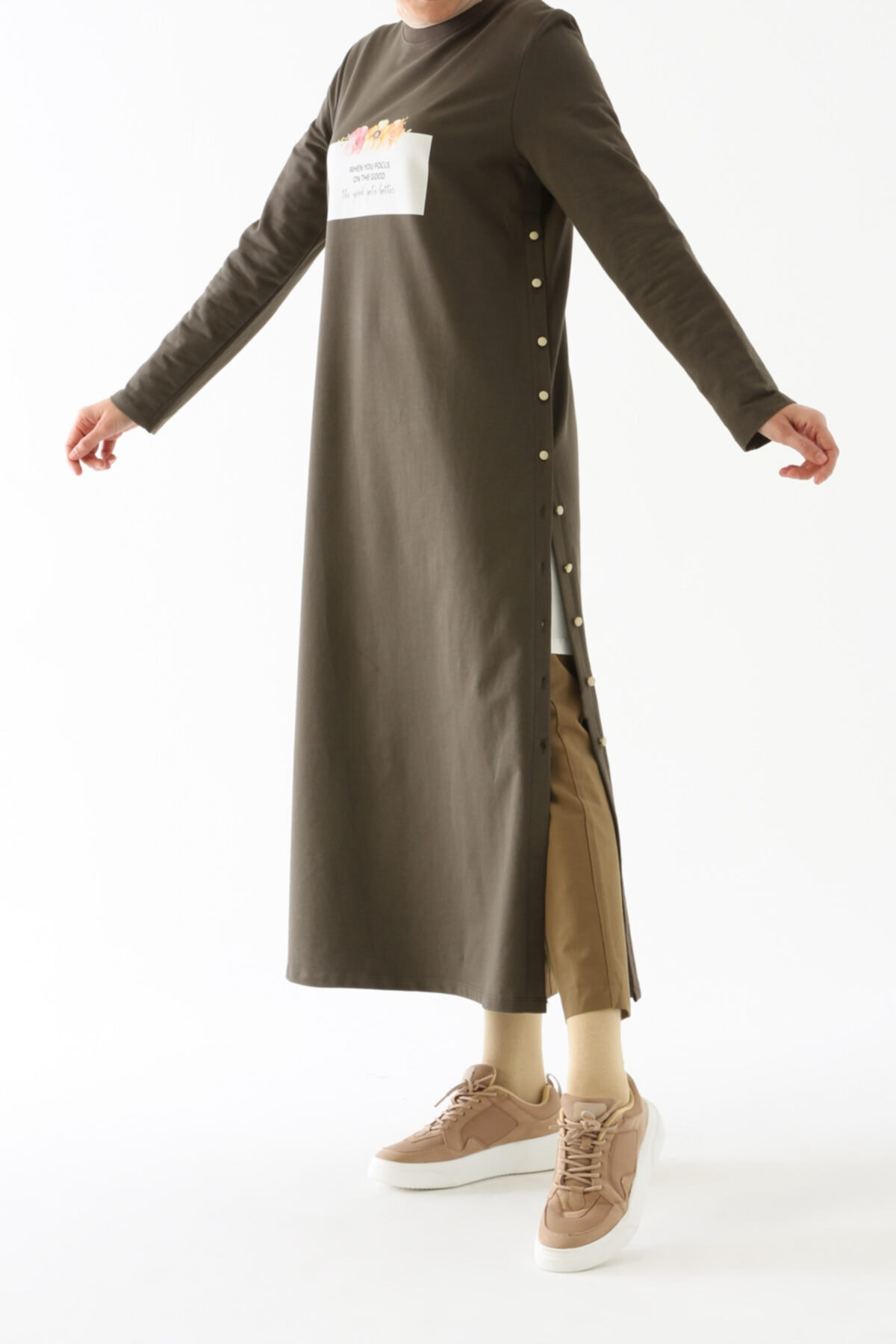 Soft Haki Yan Düğmeli Elbise Tunik