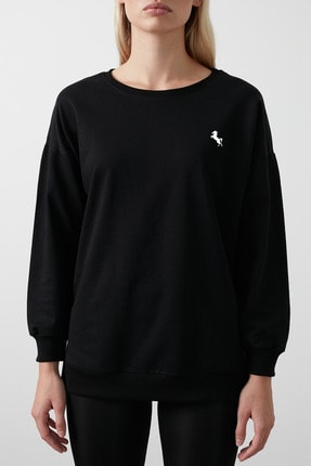 Feli's Kadın Siyah Renk Içi Polarlı Sweatshirt 1