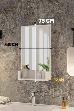 bluecape Inci Beyaz 75cm Raflı Banyo Dolabı Wc Ofis Çocuk Yatak Odası Bahçe Lavabo Aynası 3
