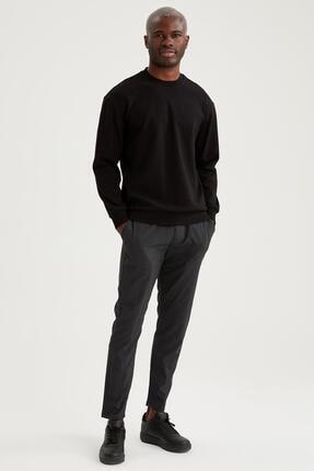 Defacto Erkek Siyah Oversize Fit Bisiklet Yaka Basic Sweatshirt 1