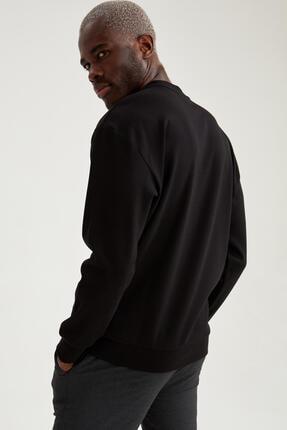Defacto Erkek Siyah Oversize Fit Bisiklet Yaka Basic Sweatshirt 4
