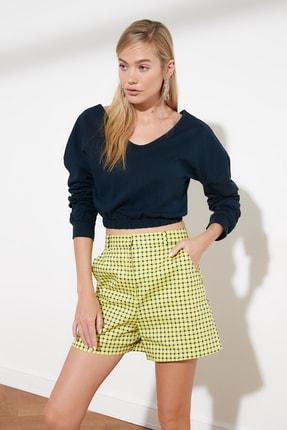 TRENDYOLMİLLA Lacivert Crop V Yaka Örme Sweatshirt TWOSS21SW0011 1