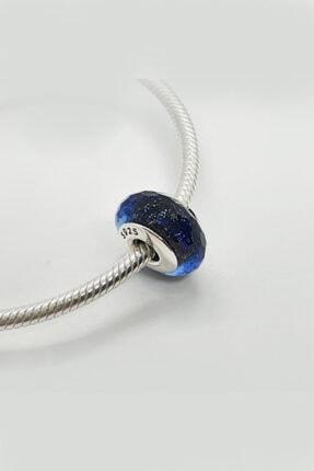Triaboz Kadın Mavi Pandora Bileklik Uyumlu Cam Charm 1