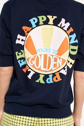 TRENDYOLMİLLA Lacivert Baskılı Örme Sweatshirt TWOSS21SW0222 2