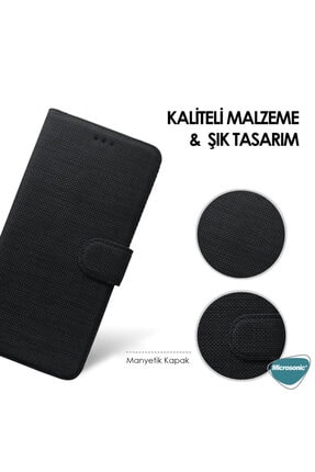 Samsung Microsonic Galaxy A51 Kılıf Fabric Book Wallet Mor 3