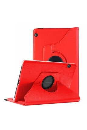 Huawei Microsonic Mediapad T5 10'' Kılıf 360 Rotating Stand Deri Kırmızı 0