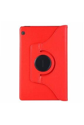 Huawei Microsonic Mediapad T5 10'' Kılıf 360 Rotating Stand Deri Kırmızı 1