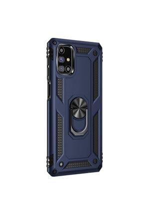 Samsung Microsonic Galaxy M51 Kılıf Military Ring Holder Lacivert 1