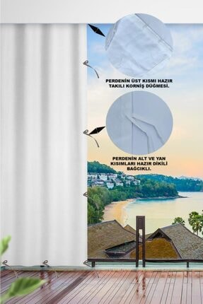 ALTINPAMUK Her Ölçüde Enxboy Seçenekli Bağcıklı Balkon Perdesi Balkon Brandası Beyaz- 1