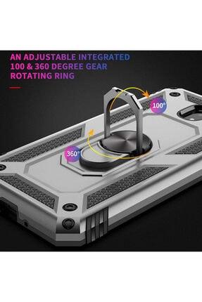 Samsung Microsonic Galaxy J7 Pro Kılıf Military Ring Holder Gümüş 3