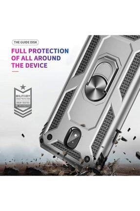 Samsung Microsonic Galaxy J7 Pro Kılıf Military Ring Holder Gümüş 4
