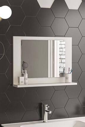 bluecape Beyaz 60x45 Raflı Banyo Dolabı Wc Ofis Çocuk Yatak Odası Bahçe Lavabo Aynası 0