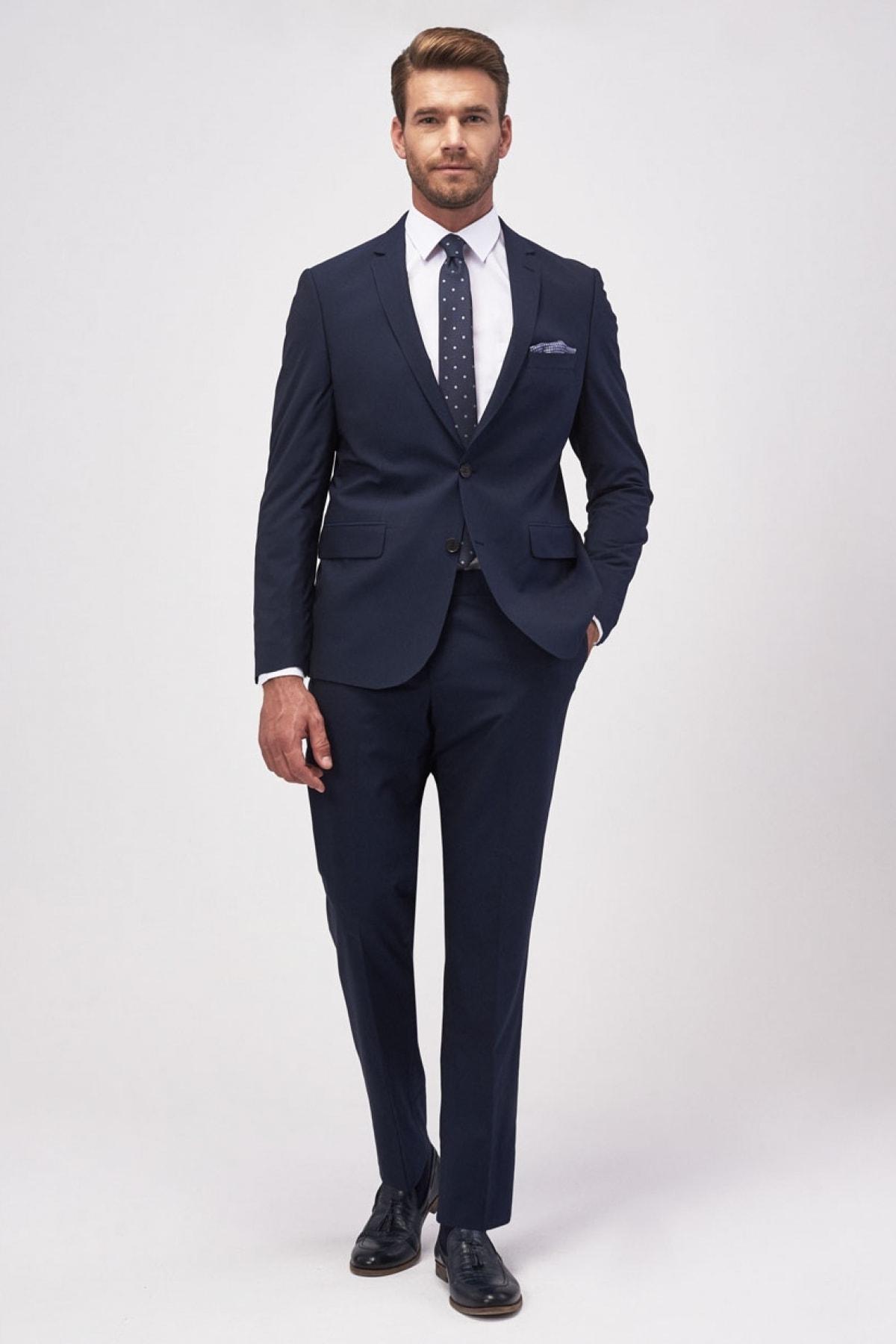 Erkek Lacivert Regular Fit 4 Drop Takım Elbise
