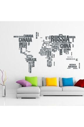 Tilki Dünyası Dünya Haritası Ülke Adları XL Duvar Sticker Dünya Ülkeleri Atlas Dekoratif Duvar Sticker 0