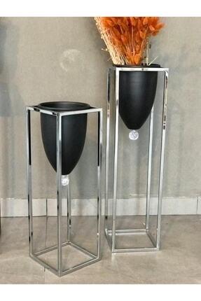 EVİNİZİNRİTMİ Metal Ayaklı Dekoratif 2'li Saksı, Vazo 0