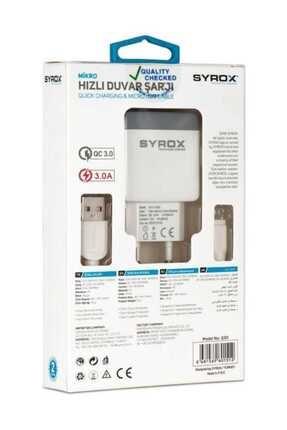 Syrox 3.0 Amper 12wolt Micro Hızlı Şarj Aleti 3.0 Amps 12wolt Micro Fast Charger 3