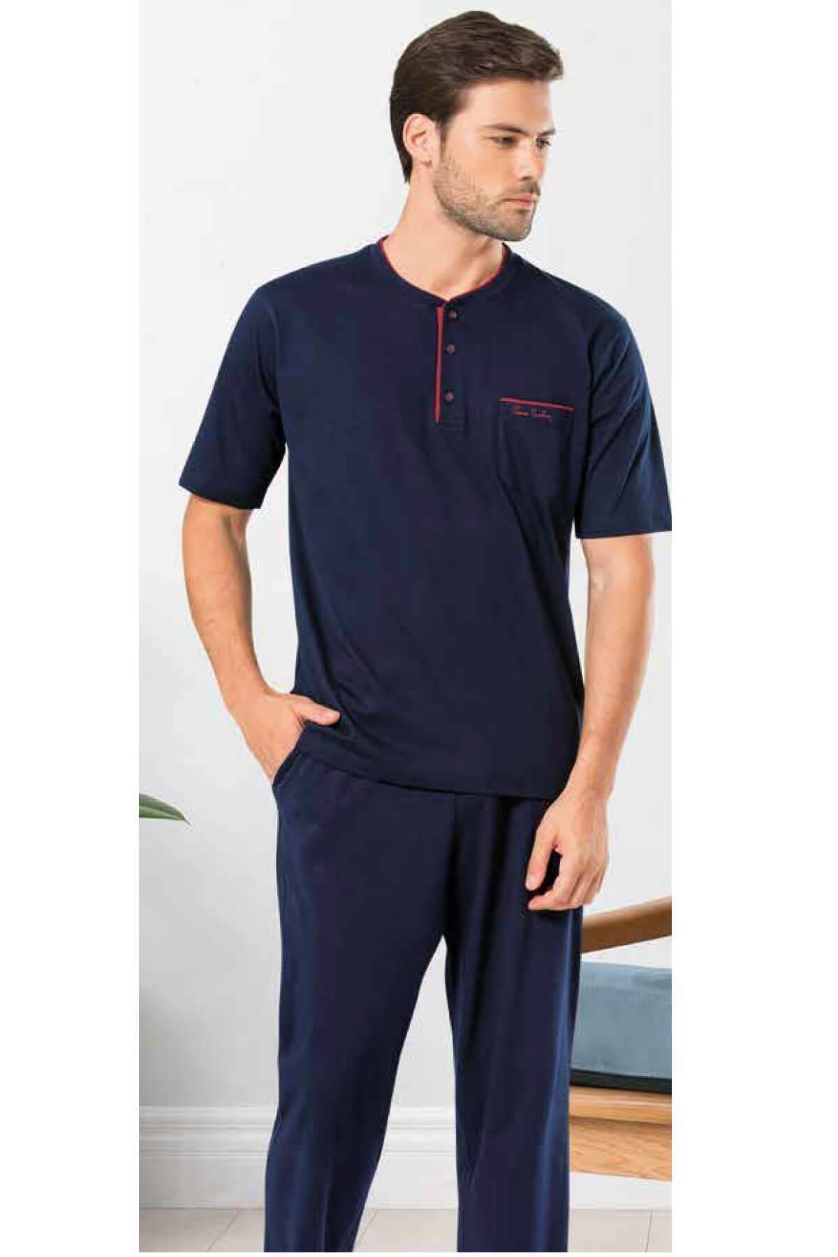 5370 Erkek 3'lü Lacivert Şortlu Pijama Takımı
